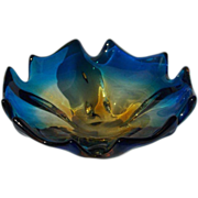 SALE Brilliant Blue Art Glass Bowl