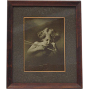 SALE Cupid Asleep Vintage Framed Print