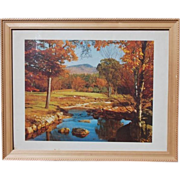 SALE Craftsman Framed Vintage Fall Scene Lithograph