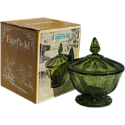 SALE NIB Vintage Anchor Hocking Fairfield Green Glass Candy Compote with Lid