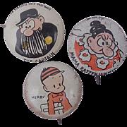 SALE 1945 Three Kellogg's Pep Pinback Button's Herbie, Mama Katzenjammer & The Captain