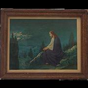 "Vintage Lithograph ""Jesus on the Mount Gethsemane"""