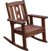 SALE Child's Vintage Oak Mission Style Chair Rocker