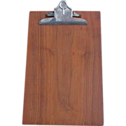 SALE Mahogany Wood Stainless Steel Back Vintage Stemco Dallas Clipboard