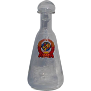 Pre 1992 Vintage Glass Flask with State Emblem of the Soviet Union