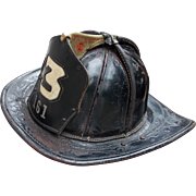SOLD Cairns Bros. Hoboken New Jersey Vintage Leather Fire Helmet with Owners Information