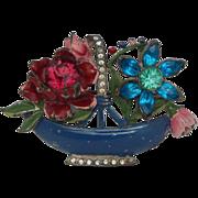 SALE Unsigned Enamel, Pot Metal, and Colored Stone Vintage Flower Basket Brooch