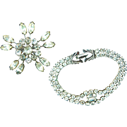Weiss Classic Sparkling Rhinestone Signed Bracelet and Vintage Brooch