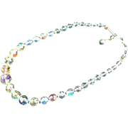 Small Vintage Costume Aurora Borealis Graduated Faceted Round Bead Necklace Child or Youth Siz