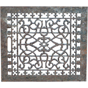 "Victorian 16"" X 14"" Garden Use Cast Iron Heat Register Grate Architectural Salvage"