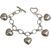 "Sweetheart ""Puff Valentine"" Stainless Steel Charm Bracelet"