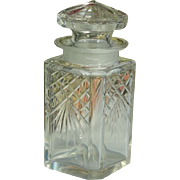 SALE Early 1900's Square Lidded Crystal Pickle Jar