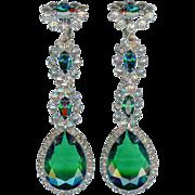 Vintage K.J.L. Kenneth Jay Lane Emerald Green Crystal Earrings