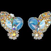 Vintage Original by Robert Blue Opaline Art Glass Earrings 1960's