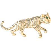 Vintage KJL Kenneth Jay Lane Tiger Pave Brooch Pin