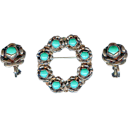 SALE CHARMING Vtg 30's Mexico Mexican Sterling Silver Turquoise Roses Brooch Earrings
