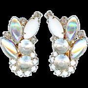 Vintage 1960's Hobe Iridescent Art Glass Earrings Bridal Mint Condition
