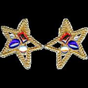 Vintage Trifari Patriotic Star Red White Blue Big Earrings