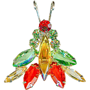Terrific Vintage 1960's Juliana D&E Bug Insect Green Orange Amber Brooch Pin