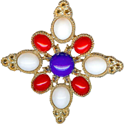 Vintage Juliana D and E Patriotic Red White Blue Brooch Pin High Dome Cabochon