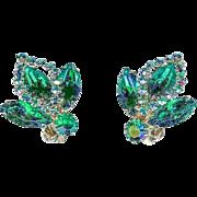 Vintage 1960's Weiss Emerald Green Rhinestone Halo Earrings