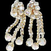 "Vintage 1950's Hobe 3"" Long Clear Crystal Dangle Earrings Bridal"