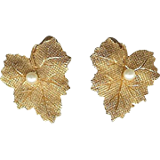 SALE Vintage Ciner Autumn Maple Leaf Faux Pearl Clip Earrings
