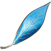 SALE Vintage 1950's David Andersen Sterling Silver Blue Enamel Leaf Brooch Pin