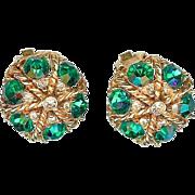Vintage 1960's Alice Caviness Emerald Green Rhinestone Dome Earrings