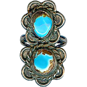 SOLD RESERVED Striking Navajo Old Pawn Sterling Silver Bisbee Turquoise Handmade Pinky Ring