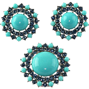Lovely 1950's Trifari High Dome Turquoise Cabochon Sapphire Blue Brooch Earrings