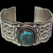 SALE Gorgeous Vintage Leonard Nez Navajo 80 Gram Sterling Silver Turquoise Bracelet