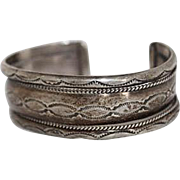 Old Pawn Navajo Handmade Hand Stamped Sterling Silver Cuff Bracelet 40.4 Grams
