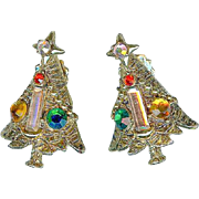 Lovely Vintage Hollycraft Baguette Candle Rhinestone Christmas Tree Earrings