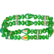 Luscious Vintage Lime Green AB Rhinestone Expansion Bracelet 1960's