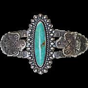 Handsome 1930's Navajo Fred Harvey Era Sterling Turquoise Thunderbird Cuff Bracelet