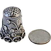 Vintage 1930's Sterling Silver Mexico Leaf Flower Thimble