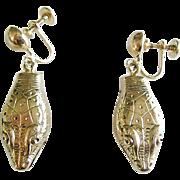 Pristine Whiting & Davis Gold Tone Dangle Snake Earrings