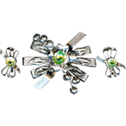 SALE Vintage 1940's Hobe Sterling Silver Green Floral Brooch Earring Set