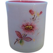 SOLD White Opaque Glass Toothpick Holder, Hand Painted Decoration