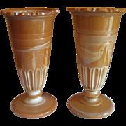 SOLD Chocolate (Greentown) Glass Vase Set