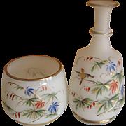 Bristol Glass Dresser Jar and Bottle