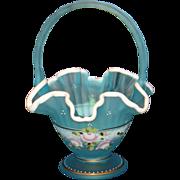 Fenton Charlton Collection Blue Satin Hand Painted Basket