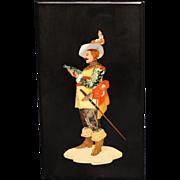 SALE PENDING Pietra Dura Musketeer Plaque -Micro Mosaic
