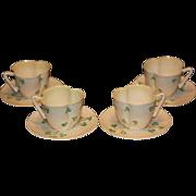 Set of 4 Belleek Harp Shamrock Cups and Saucers