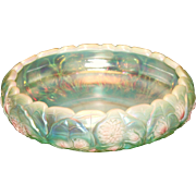 SALE PENDING Fenton Sea Mist Green Opalescent Bowl with Tulips and Begonias