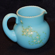 Pairpoint Blue Opaque Creamer with Daisies