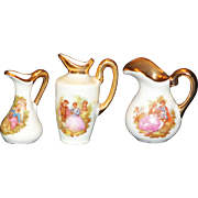 SET OF 3 LIMOGES FRANCE MINIATURE PITCHERS WITH COLONIAL SCENES