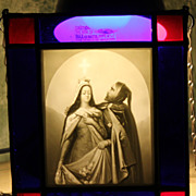KPM Plaque in Stained Glass Frame - Miracle of the Roses