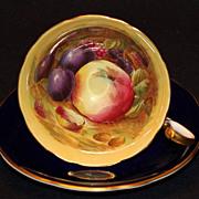 SOLD Aynsley Cobalt & Fruit Cup & Saucer